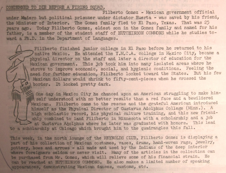 """Condemned to die before a firing squad,"" Tower Topics (University of Chicago newsletter), c. 1939, in Archivo General de la Nación, Presidentes—Lázaro Cárdenas, 534.1/1059."