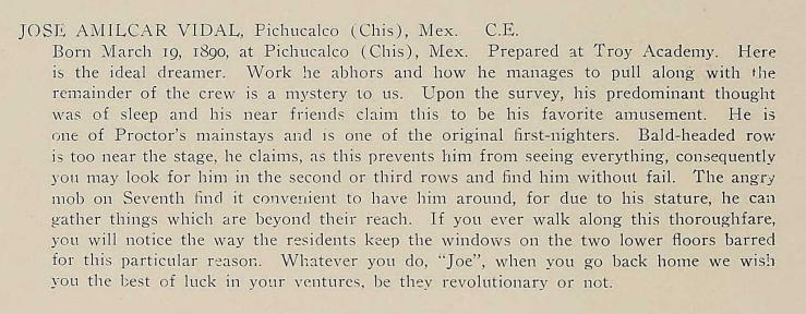 Biography of José Amilcar Vidal Sánchez, 1912 RPI Yearbook, 116.