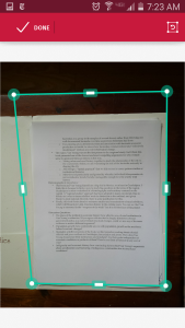 When I was photographing a white page on a stack of other white pages in a white folder, Scanbot had trouble. The rectangle shows its bad guess of where the document actually was. But it's easy to fix this by re-aligning the sides of the rectangle with the document.